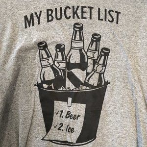 XL bucket list beer funny graphic tee t shirt gray